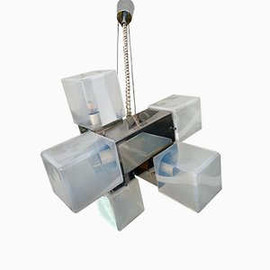 Italian Murano Glass & Metal Cube Ceiling Lamp from Mazzega, 1970s