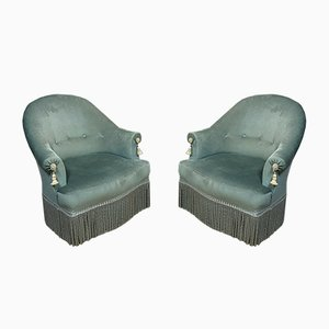 Napoleon III Samt Crapaud Stühle, 2er Set