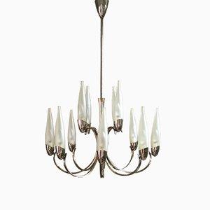 Italienischer Kronleuchter aus 12 Leuchten aus Muranoglas & vernickeltem Messing im Stil von Stilnovo, 1950er
