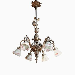 Art Nouveau Gilded Bronze Chandelier, 1900s