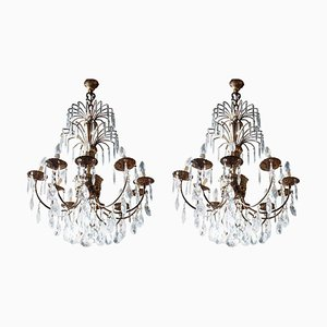 Antique Gilded Bronze and Crystal Chandeliers, Set of 2