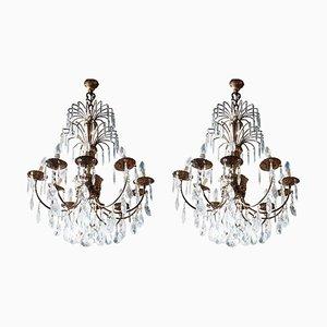 Lampadari antichi in bronzo dorato e cristallo, set di 2