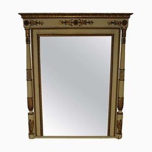 Large Antique Carved, Gilded & Lacquered Wood Wall Mirror, 1800s