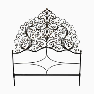 Art Nouveau Gilded Wrought Iron Headboard, 1910s