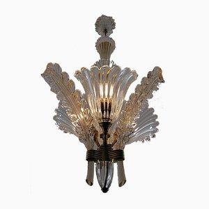 Deckenlampe mit Drei Leuchten von Archimede Seguso für Seguso, 1930er