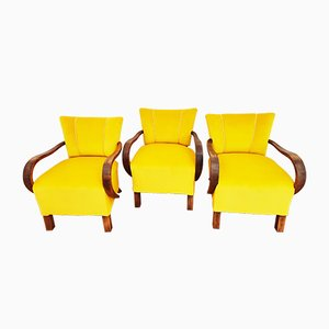 Mid-Century H-237 Armchairs by Jindřich Halabala for UP Závody, Set of 3