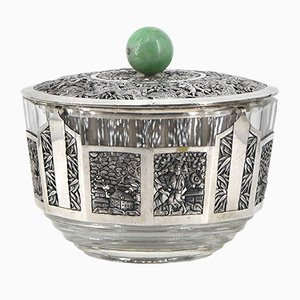 Chinese Silver Mounted & Jade Lidded Bowl, 1920s