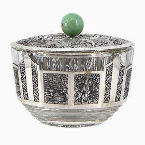 Silberne chinesische Schale mit Jadedeckel, 1920er