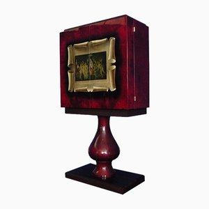 Beleuchteter Barschrank aus Holz & Ziegenleder von Aldo Tura, 1950er