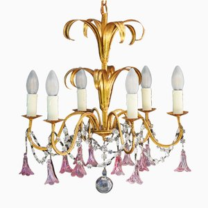 French Six-Light Chandelier, 1950s