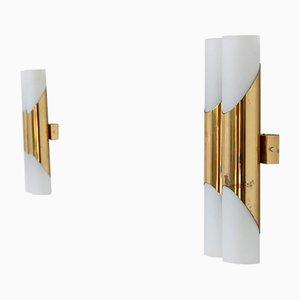 German Brass & Glass Tubular Sconces, 1960s, Set of 2