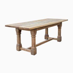 Großer antiker französischer Farmhaus Tisch aus gebleichter Eiche