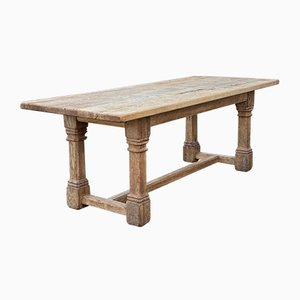 Large Antique French Bleached Oak Farmhouse Table