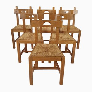 Vintage Oak & Straw Dining Chairs, 1950s, Set of 6