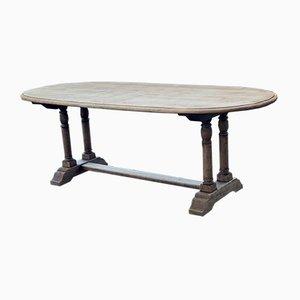 Ovaler Französischer Vintage Bauerntisch aus Gebleichter Eiche