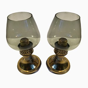 English Smoked Glass & Brass Candleholders by Martin Roehlen for Mason Standex International Ltd, 1970s, Set of 2