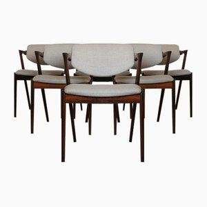 Rosewood 42 Dining Chairs by Kai Kristiansen, 1950s, Set of 6