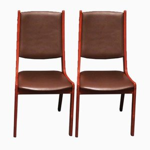 Danish Teak and Leather Dining Chairs from KS Møbler, 1960s, Set of 2
