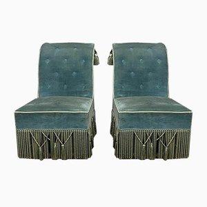 Napoleon III Velvet Crapaud Chairs, Set of 2