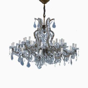 Large French Maria Theresa Crystal Chandelier, 1950s