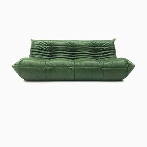 Vintage Togo Forest Green Leather Sofa by Michel Ducaroy for Ligne Roset