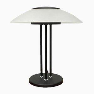 Vintage Postmodern Glass & Metal Table Lamp