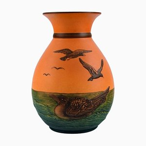 Vase With Seagulls in Hand-Painted Glazed Ceramics from Ipsens