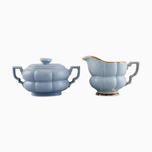 Art Deco Gefle Sugar Bowl and Creamer by Arthur Percy for Upsala-Ekeby, Set of 2
