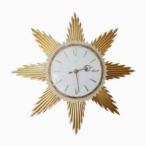 Mid-Century Starburst Brass Wall Clock from Metamec, 1950s