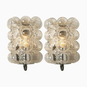 Glass Wall Lights Sconces by Helena Tynell, 1960s, Set of 2