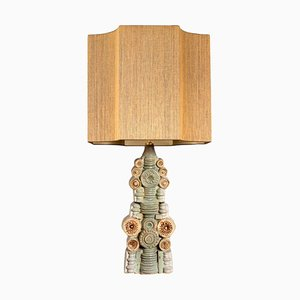 Large Ceramic Table Lamp with Custom Made Silk Lampshade by René Houben for Bernard Rooke, 1960s