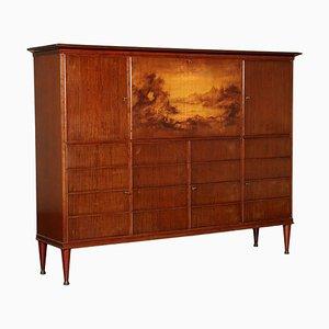 Mahogany Veneer, Brass & Mirror Cabinet, 1950s