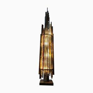 Brutalistische Stehlampe aus Bronze & Glas in Lebensgröße von Albano Poli für Poliarte, 1970er