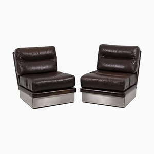 Leather Chairs by Jacques Charpentier, 1970s, Set of 2