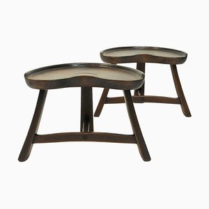 Norwegian Pine Stool Pair from Krogenæs Møbler, 1970s, Set of 2