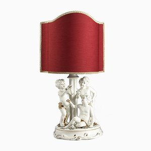 Porcelain Ceramic Lamp with Putti, 1960s