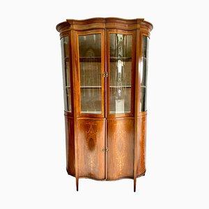 19th-Century Victorian Mahogany Inlaid Serpentine Shaped Display Cabinet