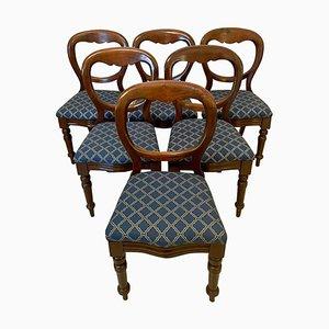 Antike viktorianische viktorianische Balloon Back Mahagoni Esszimmerstühle, 6er Set