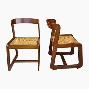 Space Age Italian Wood and Viennese Cane Dining Chairs by Willy Rizzo for Mario Sabot, 1970s, Set of 2
