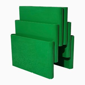 Space Age Green Magazine Rack with 6 Compartments by Giotto Stoppino for Kartell
