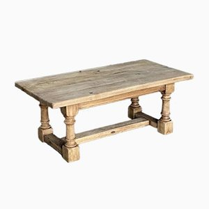 French Bleached Oak Farmhouse Coffee Table, 1920s