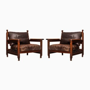 Brutalist Oak Armchairs, 1970s, Set of 2