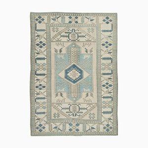 Vintage Beige & Blue Oushak Carpet, 1970s