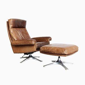 Kuhleder DS-31 Sessel & Fußhocker von de Sede, 1970er, 2er Set
