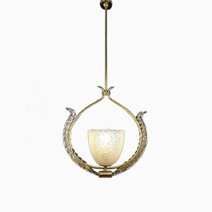 Reticello Ceiling Lamp by Carlo Scarpa for Venini, 1930s