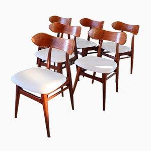 Karstrup Esszimmerstühle von Louis van Teeffelen für WéBé, 1950er, 6er Set