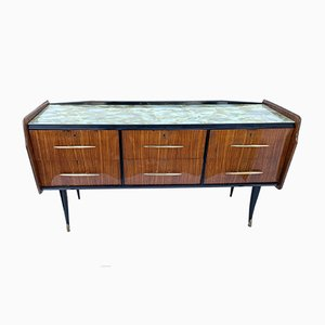 Vintage Mahogany, Ebony & Glass Chest of Drawers, 1970s