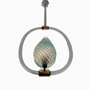 Aquamarine Ceiling Lamp by Ercole Barovier for Barovier & Toso, 1940s