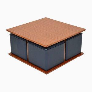 Mesa de centro vintage de teca con asientos nido, años 60. Juego de 5