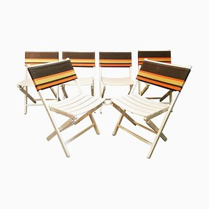 Mid-Century French Folding Chairs, Set of 6